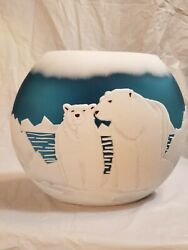 Fenton Vase By Kelsey Murphy-bomkamp Blue With White Bears 10and039and039tall