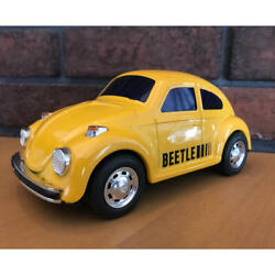 Ichiko Beetle Japanese Tinplate Toy Car Yellow Vintage Japan Collection F/s Used