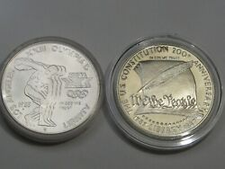 2 Silver Us Commem Dollars 1983-p Mint State Olympiad And 1987-s Proof Const. 1