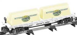 American Flyer 6-48569 S Scale Buttermilk Bay Flat W/milk Containers