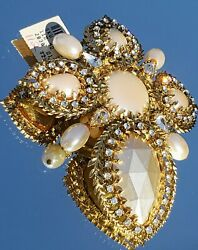 Vtg Stunning Lg 4 + Faux Pearl And Stones Goldtone Broochneiman Marcusn.w.t.