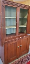 Antique 2pc Stepback Cupboard Mid-1800and039s