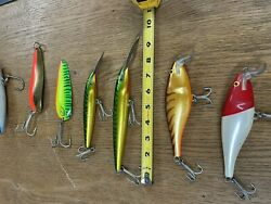 Vintage Very Large Rapala Finland Crank Baits And Daredevil