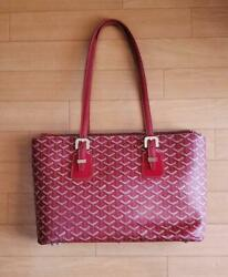 Goyard Saint Loui Totebag Red Disposal Canvas Leather W/proof Of Purchase Auth