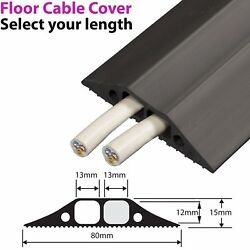 83mm Heavy Duty Rubber Floor Cable Cover Protector - Twin Channel Conduit Tunnel