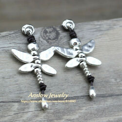 Anslow Fashion Jewelry New Arrivals Items Dragonfly Antique Silver Plated Leathe