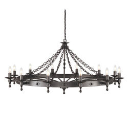 12 Bulb Chandelier -2 Tier-hand Crafted-graphite Finish Black-led E14 60w