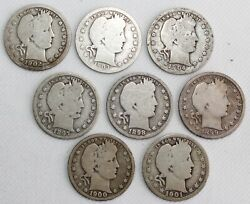 8 Coin Lot 1897-1904 Silver Barber Quarters 25c Us Type Coins Avg Circulated
