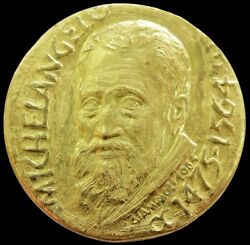 1964 Gold Vatican Italian Michelangelo 400th Anniversary Medal By P. Giampaoli