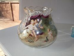 Big 9x11 Glass Centerpiece Vase Bowl Painted Victorian Courting People Cherubs