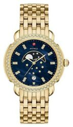 New Michele Sidney Diamond Gold Tone Blue Moon Phase Dial Watch Mww30a000045