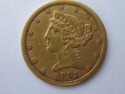 1891-cc Liberty Head Half Eagle 5 Dollar Gold Coin Nice Type Carson City Rare