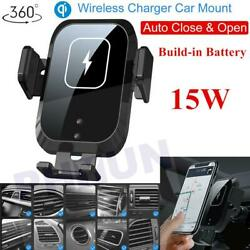 360° Clamping 15w Qi Wireless Fast Car Charger Mount Air Vent Cell Phone Holder