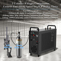 4 Stage Auto-stop 2 Pistons Air Compressor Pcp Pump Waterandfan Cooling System Us