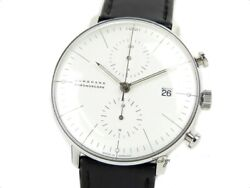 Junghans Max Bill Chronoscope Watch Menand039s Automatic Black Ss Leather 27 4600