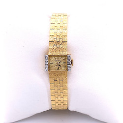 Vintage Rolex Precision 18k Yellow Gold And Diamonds Ladies Cocktail Watch