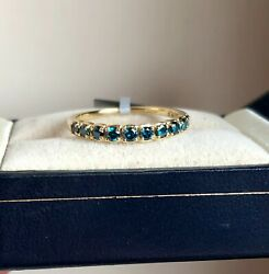 1/2ct Genuine Blue Diamond Ring Yellow Gold Size P 1/2 'certified' Fab Colour