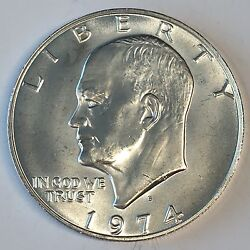 1974-s Eisenhower Ike Dollar Uncirculated 40 Silver - High Quality Scans B808
