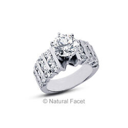 2.19ctw D Vs2 Round Cut Natural Certified Diamonds White Gold Engagement Ring