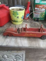 Vintage Antique Wooden Toy Fire Truck A Fire Demon Hook And Ladder Very Old. Only