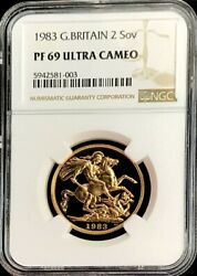 1983 Gold Great Britain 2 Pounds Coin Ngc Proof 69 Ultra Cameo