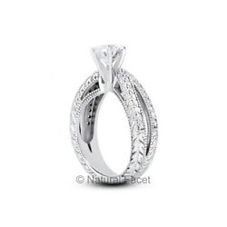 1.19ct E Si1 Round Natural Diamonds White Gold Vintage Style Accent Ring