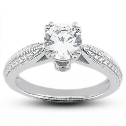 0.73ct F Si1 Round Natural Diamonds Platinum Vintage Style Side Stone Ring