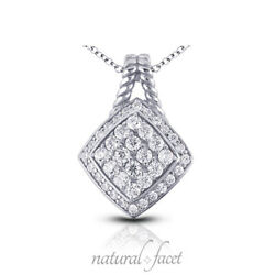 1.30ctw F Vs2 Round Cut Earth Mined Certified Diamonds Platinum Pendant + Chain