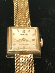 Factory Rolex Precision Manual Winding 18k Yellow Gold