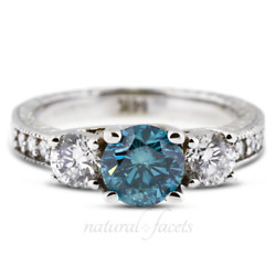 1.49ct Blue Si1 Round Natural Certified Diamonds Plat Classic Engagement Ring