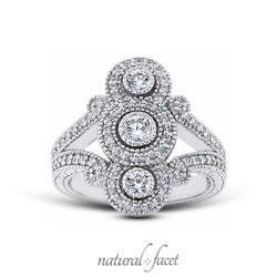 0.93ct F Vs1 Round Natural Certified Diamonds White Gold Halo Right Hand Ring