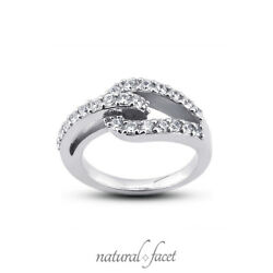 0.71ctw F Vs2 Round Cut Natural Certified Diamonds White Gold Right Hand Ring