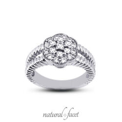 0.39ctw E/vs2 Round Cut Natural Certified Diamonds Platinum Halo Right Hand Ring