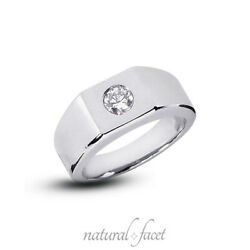 0.42ct D/vs2 Round Cut Earth Mined Certified Diamond Platinum Classic Mens Ring