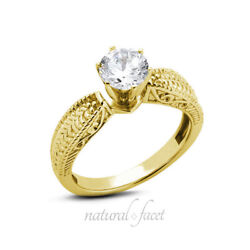0.75ct F Vs2 Round Natural Diamond Yellow Gold Vintage Solitaire Engagement Ring