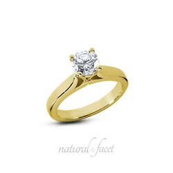 1.05ct D Si1 Round Natural Diamond Yellow Gold Solitaire Engagement Ring