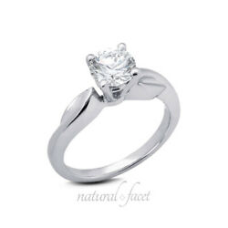 0.75ct F Vs2 Round Natural Diamond White Gold Vintage Solitaire Engagement Ring