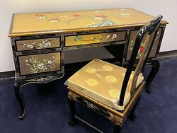 Oriental Desk Furniture Gold Leaves With French Lacquer With Chair