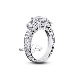 1.14ct D/si1 Round Natural Diamonds White Gold Vintage Style 3-stone Ring