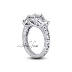 1.44ct D/si1 Round Natural Diamonds White Gold Vintage Style 3-stone Ring