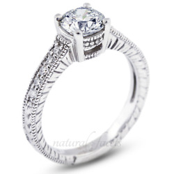 1.00ct G Vs2 Round Natural Diamonds White Gold Vintage Style Side Stone Ring