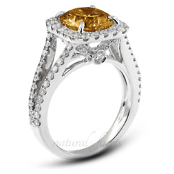 1.93ctw Brown Si1 Round Cut Natural Certified Diamonds 18k Gold Halo Accent Ring