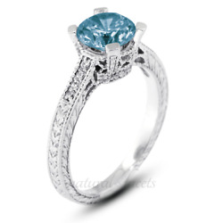 1.45ct Blue Si1 Round Natural Diamonds Plat Vintage Style Side Stone Ring