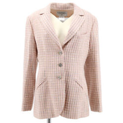 98p 40 Cc Button Single Breasted Long Sleeve Jacket Tweed Pink 60217