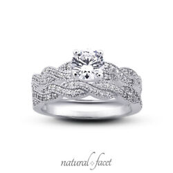1.02ct I Vs2 Round Natural Diamonds Plat Vintage Style Ring With Wedding Band