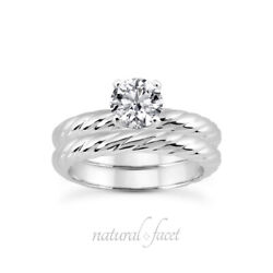 0.43ct G/vs2 Round Natural Certified Diamond Plat Classic Ring With Wedding Band