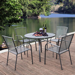 5-piece Metal Outdoor Dining Set W/ Round Table 4 Chairs Patio Furniture Grey