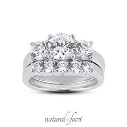 1.67ct G/si1 Round Natural Certified Diamonds Plat Classic Engagement Ring Set