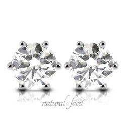 0.72ct E Si1 Round Natural Certified Diamonds White Gold Classic Stud Earrings