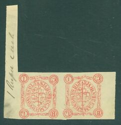 Sg 98 Bhopal India 1903. 1r Rose. Fresh Mint Pair With Good To Huge Margins...
